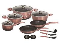 Набор посуды из 15 предметов (кастрюли, сковородки, ковш + аксессуары) Edenberg с мраморным покрытием Розовое золото EB-5626