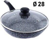 Сковорода Гранитное покрытие с крышкой - 28 см. Benson BN-517