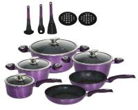 Набор посуды из 15 предметов (кастрюли, сковородки, ковш + аксессуары) Edenberg с мраморным покрытием Фиолетовый металлик EB-5627