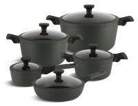 Набор посуды из 10 предметов (кастрюли, сковородки, ковш) Edenberg с мраморным покрытием Черный EB-5633