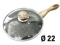 Сковорода с крышкой Гранитное покрытие с красными, серыми и белыми вкраплениями - 22 см. Benson BN-537