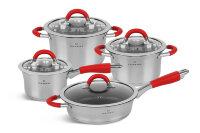 Набор посуды из 8 предметов (кастрюли, ковш, сковорода) Edenberg из нержавеющей стали EB-2408