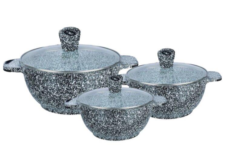Набор посуды из 6 предметов (кастрюли) Edenberg с гранитным покрытием Серый EB-3985
