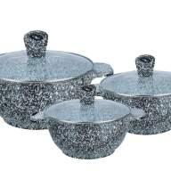 Набор посуды из 6 предметов (кастрюли) Edenberg с гранитным покрытием Серый EB-3985 - Набор посуды из 6 предметов (кастрюли) Edenberg с гранитным покрытием Серый EB-3985