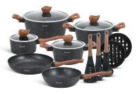 Набор посуды из 15 предметов (кастрюли, сковородки, ковш + аксессуары) Edenberg с мраморным покрытием Черный EB-5617