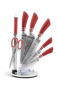 Набор ножей 9 Предметов, с вращающейся подставкой - Edenberg EB 913 - красный