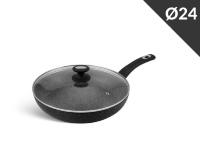 Сковорода Мраморное покрытие с крышкой - 24 см. Edenberg EB-4109