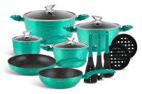 Набор посуды из 15 предметов (кастрюли, сковородки, ковш + аксессуары) Edenberg с мраморным покрытием Зеленый EB-5623