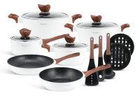 Набор посуды из 15 предметов (кастрюли, сковородки, ковш + аксессуары) Edenberg с мраморным покрытием Белый  EB-5622