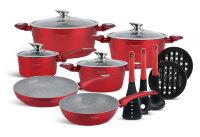 Набор посуды из 15 предметов (кастрюли, сковородки, ковш + аксессуары) Edenberg с мраморным покрытием Красный EB-5621