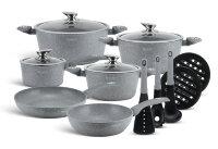 Набор посуды из 15 предметов (кастрюли, сковородки, ковш + аксессуары) Edenberg с мраморным покрытием Серый EB-5620
