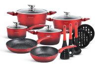 Набор посуды из 15 предметов (кастрюли, сковородки, ковш + аксессуары) Edenberg с мраморным покрытием Красный EB-5619