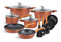 Набор посуды из 15 предметов (кастрюли, сковородки, ковш + аксессуары) Edenberg с мраморным покрытием Золото EB-5618