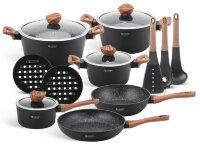 Набор посуды из 15 предметов (кастрюли, сковородки, ковш + аксессуары) Edenberg с мраморным покрытием Черный EB-5616
