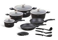 Набор посуды из 15 предметов (кастрюли, сковородки, ковш + аксессуары) Edenberg с мраморным покрытием Черный EB-5611