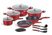 Набор посуды из 15 предметов (кастрюли, сковородки, ковш + аксессуары) Edenberg с мраморным покрытием Красный EB-5612