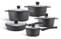 Набор посуды из 10 предметов (кастрюли, сковородки, ковш) Edenberg с мраморным покрытием Черный EB-9185