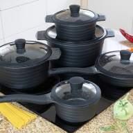 Набор посуды из 10 предметов (кастрюли, сковородки, ковш) Edenberg с мраморным покрытием Черный EB-9185 - Набор посуды из 10 предметов (кастрюли, сковородки, ковш) Edenberg с мраморным покрытием Черный EB-9185