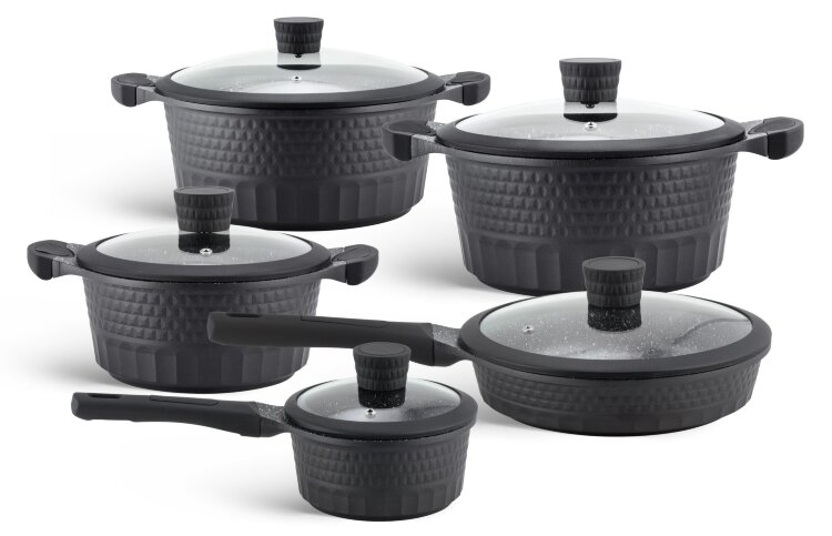 Набор посуды из 10 предметов (кастрюли, сковородки, ковш) Edenberg с мраморным покрытием Черный EB-9186