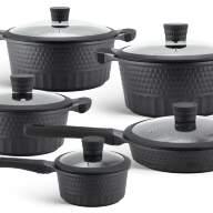 Набор посуды из 10 предметов (кастрюли, сковородки, ковш) Edenberg с мраморным покрытием Черный EB-9186 - Набор посуды из 10 предметов (кастрюли, сковородки, ковш) Edenberg с мраморным покрытием Черный EB-9186