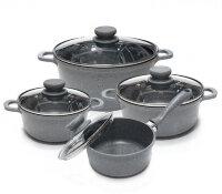 Набор посуды из 8 предметов (кастрюли, ковш) Edenberg с мраморным покрытием Серый EB-9181