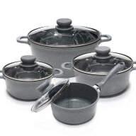 Набор посуды из 8 предметов (кастрюли, ковш) Edenberg с мраморным покрытием Серый EB-9181 - Набор посуды из 8 предметов (кастрюли, ковш) Edenberg с мраморным покрытием Серый EB-9181