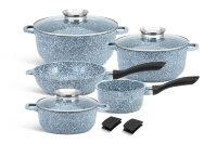 Набор посуды из 10 предметов (кастрюли, ковш, сковорода) Edenberg с гранитным покрытием Серый EB-8012