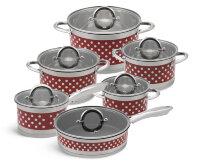 Набор посуды из 12 предметов (кастрюли, ковш, сковорода) Edenberg мраморное покрытие EB-4055