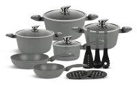 Набор посуды из 15 предметов (кастрюли, сковородки, ковш + аксессуары) Edenberg с мраморным покрытием Серый EB-5624